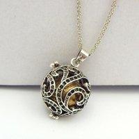 bali silver necklaces - Geometric cage Bali silver MEXICAN BOLA Chime ball Maternity Women pregnancy bola pendant Necklace