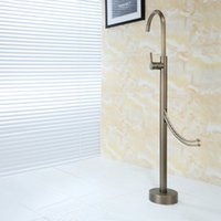 bathtub antique - PHASAT Classic Antique Floor Standing Bathtub Faucet With Hand Shower Chrome Brass Fixed Support Type