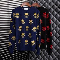 bee nice - 2016 Fall latest men woolen Sweater fashion luxury SMALL BEE print outwear male nice wool sweaters men s fall long sleeve crew neck Pullover