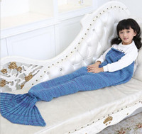 Wholesale Kids Mermaid Blankets Handmade Mermaid Tail Blankets Mermaid Tail Sleeping Bag Knit Sofa Nap Falbala Blankets Poke Costume Cocoon colors