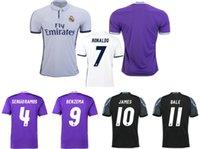 Wholesale 16 real madrid home and away soccer jerseys RONALDO JAMES BALE BENZEMA SERGIO RAMOS soccer shirts football jerseys