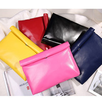 Cheap Wholesale-New Low-priced casual fashion simple candy color pu leather envelope bag clutch handbags folding gift party purse 8 colors