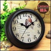 Wholesale DHL Z7 H P WIFI Clock Spy Hidden IP Camera Wall Clock Motion Detection Nanny Record Cam