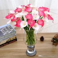 Урожай Искусственные цветы 100 частей / серия Мини-фиолетовый в белый Калла Букеты для невесты Свадебный букет Украшение Фиктивный цветок