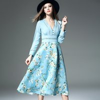 Wholesale Spring new female star in same posed printed stretch chiffon dress long sleeved v neck Street Style dress