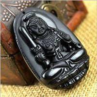 Cheap New Manual sculpture natural obsidian elephant pendant New black stone necklace Fine jade jewelry For women men Free rope