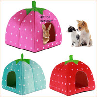 Wholesale Pet Small Dog Puppy Cat Rabbit Kitten House Soft Winter Dog Cat Bed Strawberry Cave Dog House Cute Kennel Nest