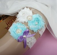 baby garter - New Design baby Blue and white Color Shabby Flower Lace Wedding bride Garter for Bridal Garter With Alloy charms Handmade