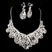 Bijoux de mariée en cristal de la marque de la marque ensemble 925 boucles d'oreilles en diamant plaqué argent collier Ensembles de bijoux de mariage pour la demoiselle d'honneur femmes