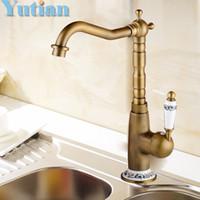 Wholesale Kitchen Faucet Antique Brass Swivel Bathroom Basin Sink Mixer Tap Crane torneira kitchen product YT