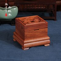 Wholesale African mahogany double hollow peony pattern incensory incense disc pomander mahogany wood tower incense incense disc