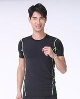 Wholesale New Arrival Running shirt Men Stripe Designer Bodybuilding Fitness Compression Sports Men s Running shirt