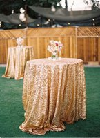 sequence - 1 m Diameter Fancy Glitter Metallic Sequence Wedding Rose Gold Table Cloth Wedding Decorations Sequin Wedding Table Covers