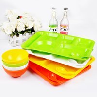 Wholesale Quality Fast Food Tray Plastic Dish Grid Plate Pallet Dining Child Dish Factory School tray kitchen Tableware Dinnerware Set