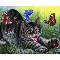 animal crossing stickers - Hot sale diamond embroidery sticker square DIY diamond painting CAT animal cross stitch crystal Gift x40cm LB