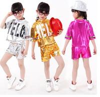 Wholesale 2016 new arrivel children girl Sequins hello letter hip hop clothes children dancewear