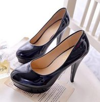 big job - new black stiletto heel four pure color waterproof big yards career woman single job interview leather shoes