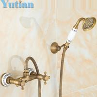bath shower kits - Bathroom Bath Wall Mounted Hand Held Antique Brass Shower Head Kit Shower Faucet Sets bathroom product YT