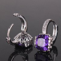amazing unique gifts - Unique design jewelry earrings k white gold plated huggie earing princess purple amazing lady hoop earring E027d