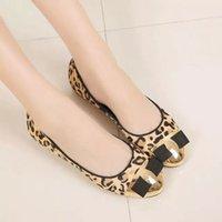 ballet flats multi - 2016 Fashion Dance Gold Buckle Leopard Horsehair Genuine Leather BALLET Flats Women Shoes Sz