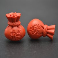 Wholesale Carved Chinese Words Red Lucky Money Bag Red Cinnabar Beads Chinese Traditional Style