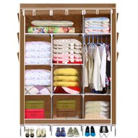 bedroom shelves - 5 Color Homdox Portable Closet Storage Organizer Wardrobe Clothes Rack With Shelves Cover Pockets Shipping From US