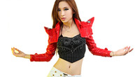 Wholesale DS Performance Costume Jazz Female Lady Gaga Leather ultra short Sharp Shoulder Long Sleeve Jacket