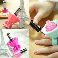 Wholesale Soft Silicone Finger Wearable Nail Gel Polish Bottle Holder with Ring Creative Nail Art Tools Varnish Bottle Display Stand Holder DHL XL M73