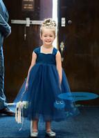Wholesale Navy Tutu Tulle Flower Girl Navy Dress Wedding Party Ball Grown Girl Dress Customized Girl Dress with Bow Hot Girl Sleeveless Dress