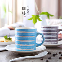 Wholesale Fambe Characteristics Hand Painted Coffee Cup Set Ceramic Cup Retro Creative High Temperature Resistance ml