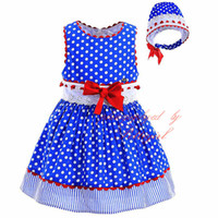 Wholesale Pettigirl Fashionable Polka Dot Dress For Girls With Headwear And Bow Blue Boutique Baby Dress Hand Made Infant and Clothes G DMGD905