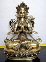 al por mayor figuras del budismo-Guanyin Bodhisattva, cuatro brazos Avalokiteshvara, estatua de cobre puro de Buda, estatua, figura, el budismo tibetano ~