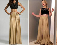 beaded tops for women - Sexy Two Pieces Prom Dresses Black Lace Top And Gold Skirt Floor Length Evening Party Dresses For Women Formal