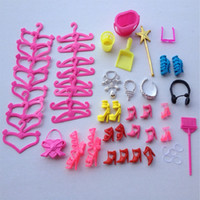 Wholesale 52PCS Dolls Accessories Pack Shoes Jewelry Handbag Display holder Hangers Clean tools For Dolls Girl Toys Children s Day Gifts
