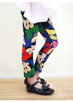basics clothing brand - Spring autumn new girls cartoon printed leggings cute mickey pattern pants kids basic clothing fashion skinny pants girls bottoms A8779