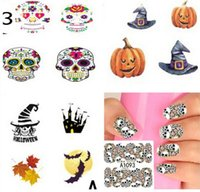 Wholesale Newest halloween D nail art stickers skull water transfer Manicure sticker pumpkin nail decals nail tips wraps vinyl for hallowen party