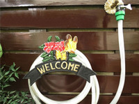 Wholesale Decorative Garden Cast Iron Hosepipe Pipe Hose Hanger WELCOME Butterfly Flower NEW Wall Mounted Hose Holder Yard