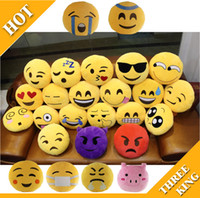 Wholesale 20 Styles Diameter cm cm Cushion Cute Lovely Emoji Smiley Pillows Cartoon Cushion Pillows Yellow Round Pillow bolster Stuffed Plush Toy