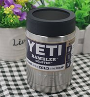 beer can coolers - 12OZ Stainless Steel Colster can Yeti Coolers Rambler Colster YETI Cups Cars Beer Mug Insulated Koozie oz yeti stainless color DHL free