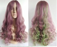 assorted wigs - Japanese cute sweetie girls lolita women curly hair purple taro green assorted colors water wave wigs from China