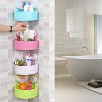 Wholesale bathroom accessories colored multifunctional plastic bathroom storage shelf sucker wall corner holder organizadores shelves
