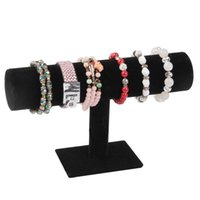 Wholesale bracelet chain watch holder T bar rack jewelry display organizer stand holder Packgaing black velvet New Hot Fashion