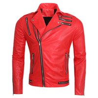 Wholesale Fall Red Motorcycle Leather Coat European And American Style Brand Michael Jackson Jacket Designer Mens Auto Leather Coat S1897