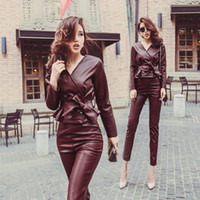 Wholesale Crop Leather Jacket Women - women clothing two piece outfits autumn v neck double breast pu leather crop top jackets and high waist pu leather pants sets
