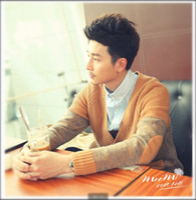 men knitted sweaters - Men fall new Korean version of the thin sweater knit cardigan striped Slim Men temperament mature sweater
