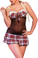 adult cloth - Sexy Adult Womens Cosplay Costumes Sexy Sheer Cosplay Suits Patchwork Plaid Cups and Skirt Schoolgirl Hammock Sleeveless Sexy Cloth Chemise