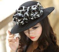 Wholesale Elegant fashion winter hat wool felt hat fedoras wool fabric wide brim leopard organza veil wide brim wool hats black hat