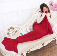 Wholesale 2016 New Hot Blanket Crochet Doft Mermaid Knit Blankets Bed Sleepping Cartoon Mermaid Sleeping Bag KB449