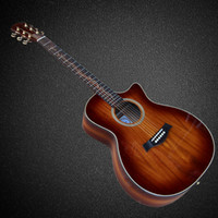Wholesale Cut away OEM handmade inch acoustic guitar KOA wood body wood inlay fingerboard