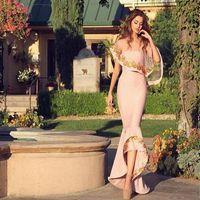 Wholesale Sexy Pink Long Prom Dresses Applique Women Formal Party Gowns with Bolero Formal Party vestidos de novia